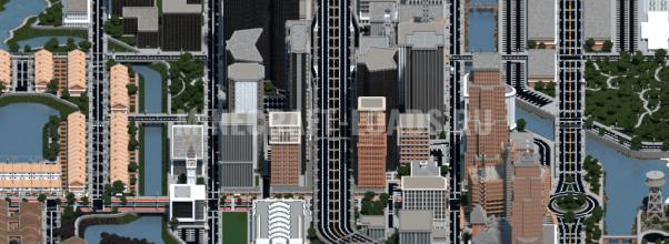 Карта Мегаполис и деревня для Minecraft 1.15.1